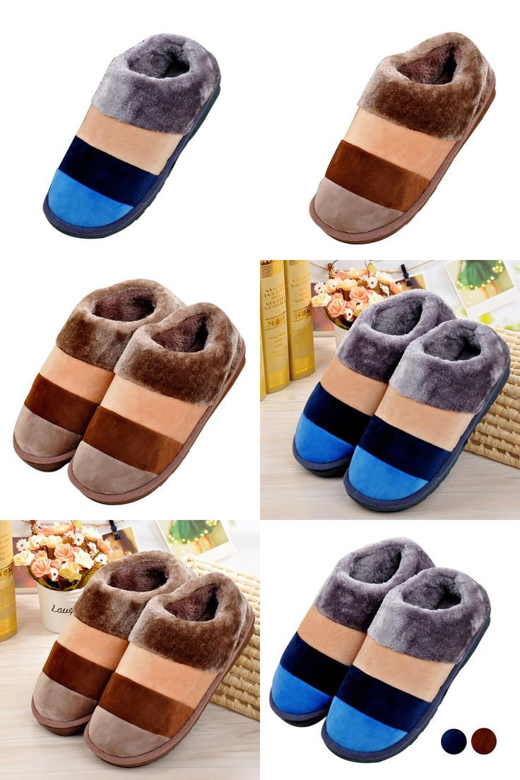 [Visit to Buy] Men Ladies Home Floor Soft Stripe Slippers Female  Cotton-padded Shoes Shoes LFY117 #Advertisement