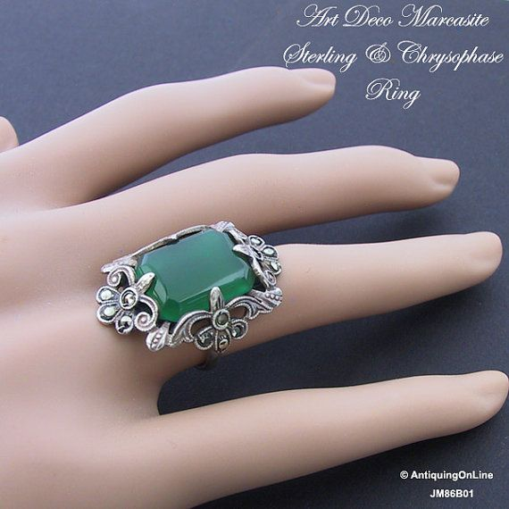 #Vintage 1930s Art #Deco Sterling Marcasite Chrysophase Ring by AntiquingOnLine at https://www.etsy.com/listing/207674519/art-deco-sterling-marcasite-chrysophase