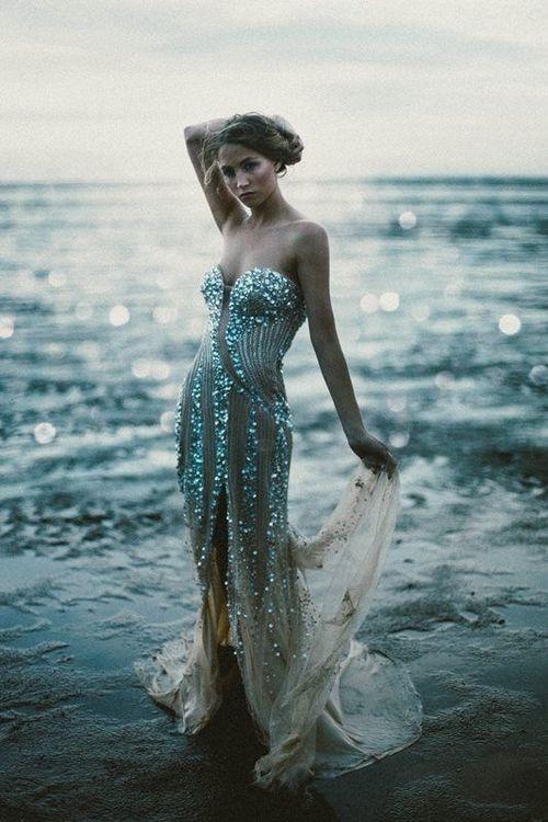 mermaid - ocean  sea water blue - gown dress glitter