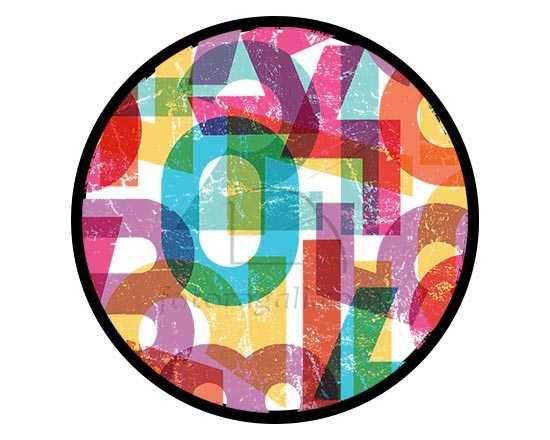Zerbino rotondo con grafica di numeri colorati