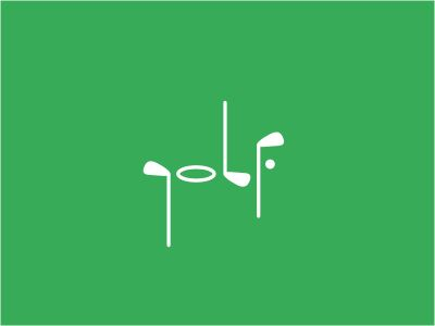 strictly made of golf objects, such as clubs, a ball, and the pin. our eyes create the word golf itself