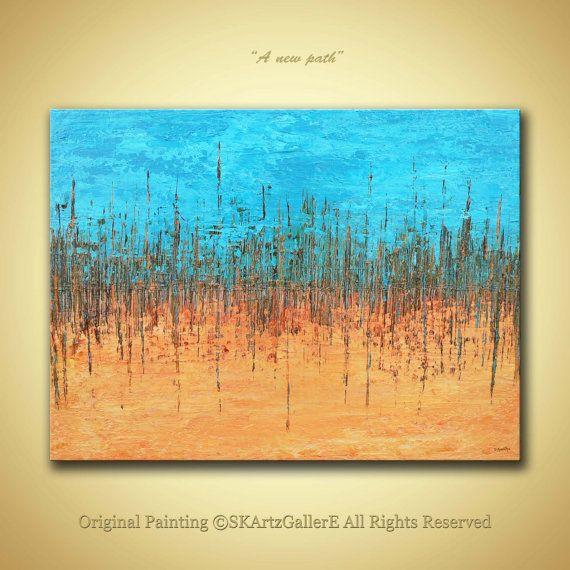 Original abstract painting orange blue wall painting for Textured acrylic abstract paintings