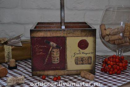 Купить или заказать КОРОБ - КОРЗИНА  ДЛЯ ВИНА (на 4 бутылки) в интернет-магазине на Ярмарке Мастеров. Короб - корзина для вина. Рассчитан на 4 бутылки. Красиво будет смотреться на праздничном столе. Замечательно подойдет для хранения масла.