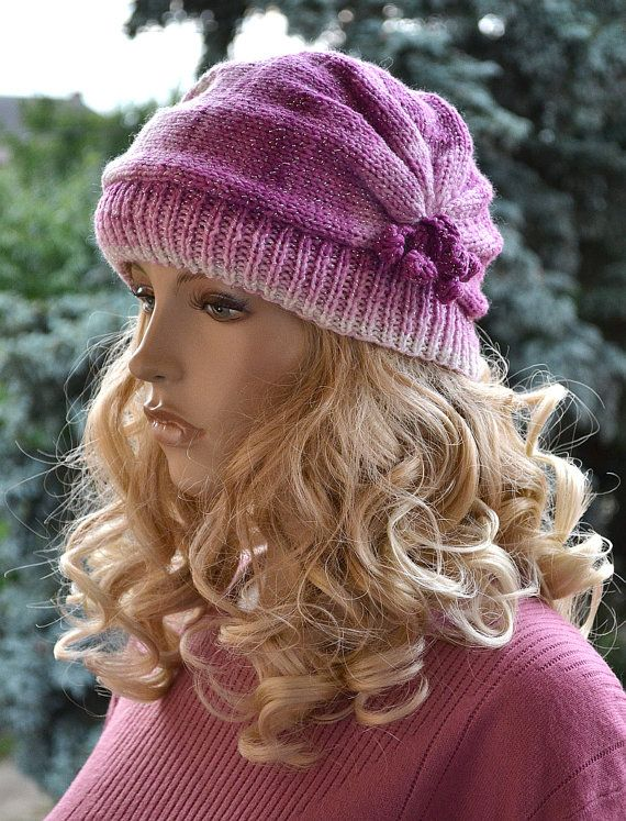 Multicolor  purple pink cream  cap / hat lovely by DosiakStyle