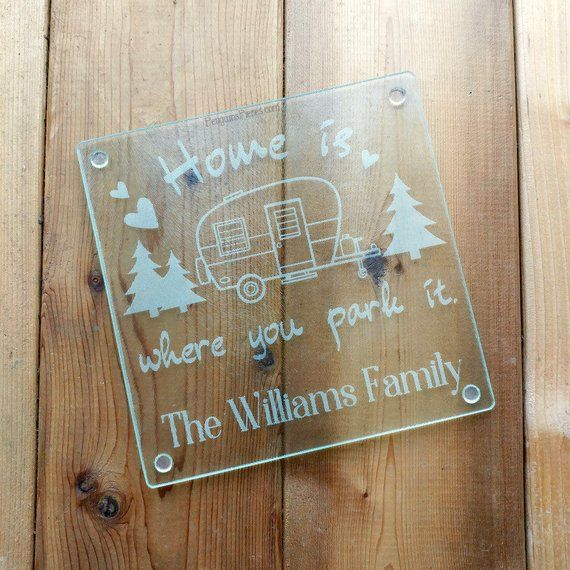 Personalized Etched Glass Cutting Board – 7.75×7.75 – Sandblasted Trivet – RV Camping Travel Trailer – Wedding or Bridal Shower Gift