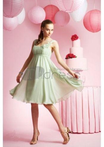 及膝A-Line/Princess圆领雪纺缎子的伴娘礼服