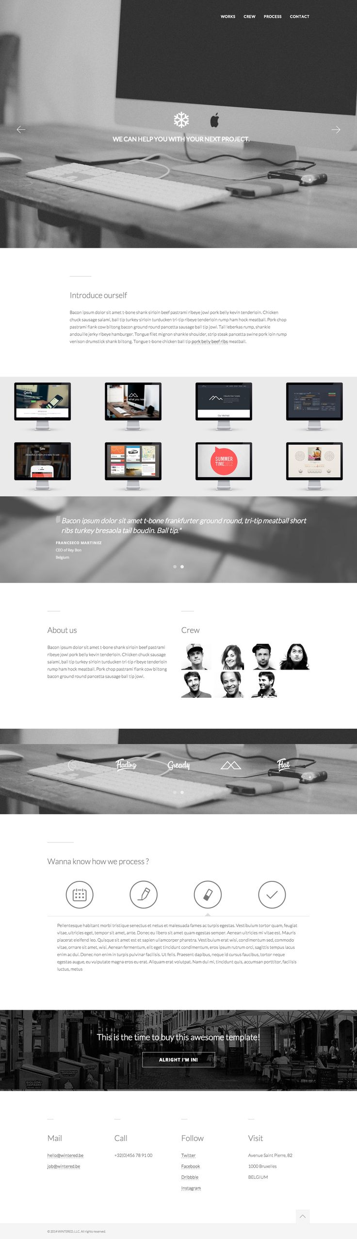 Responsive flat design in this new $13 one page HTML template by Supview. Lovely touch with the logo above intro text that fades into the sticky header as you scroll down. This template is pretty much perfect for any digital agency with notable features including a full screen header image slideshow, process slider and AJAX loading portfolio items.