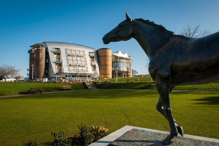 The newest grandstands at Aintree Racecourse in Liverpool, England