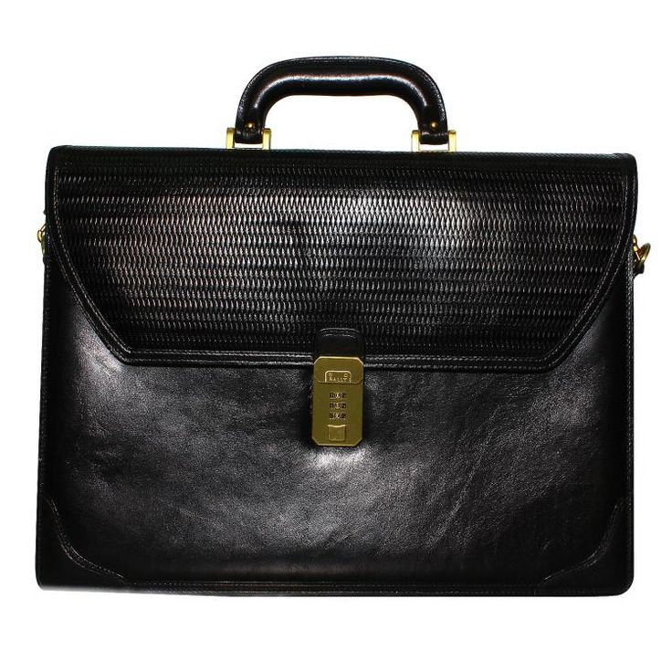 Authentic Designer BALLY Black Leather Briefcase with Brass Detail and Vanilla Interior