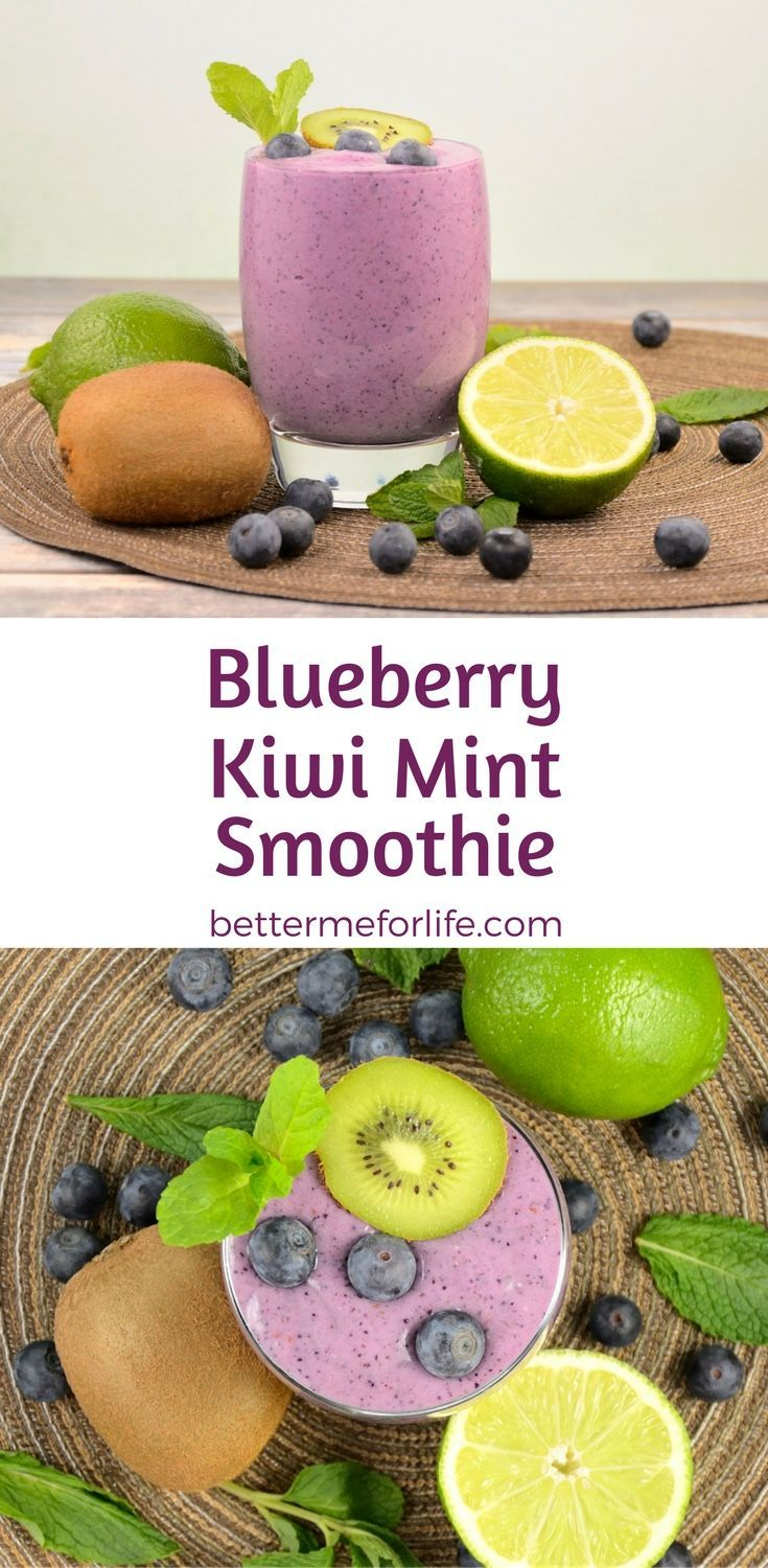 This blueberry kiwi mint smoothie is thick, rich, creamy, and sweet. It's loaded with fiber, antioxidant and anti-inflammatory health benefits. Find the recipe on http://BetterMeforLife.com