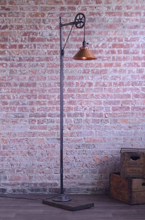 Pulley Floor Lamp Copper Shade Edison Bulb by newwineoldbottles