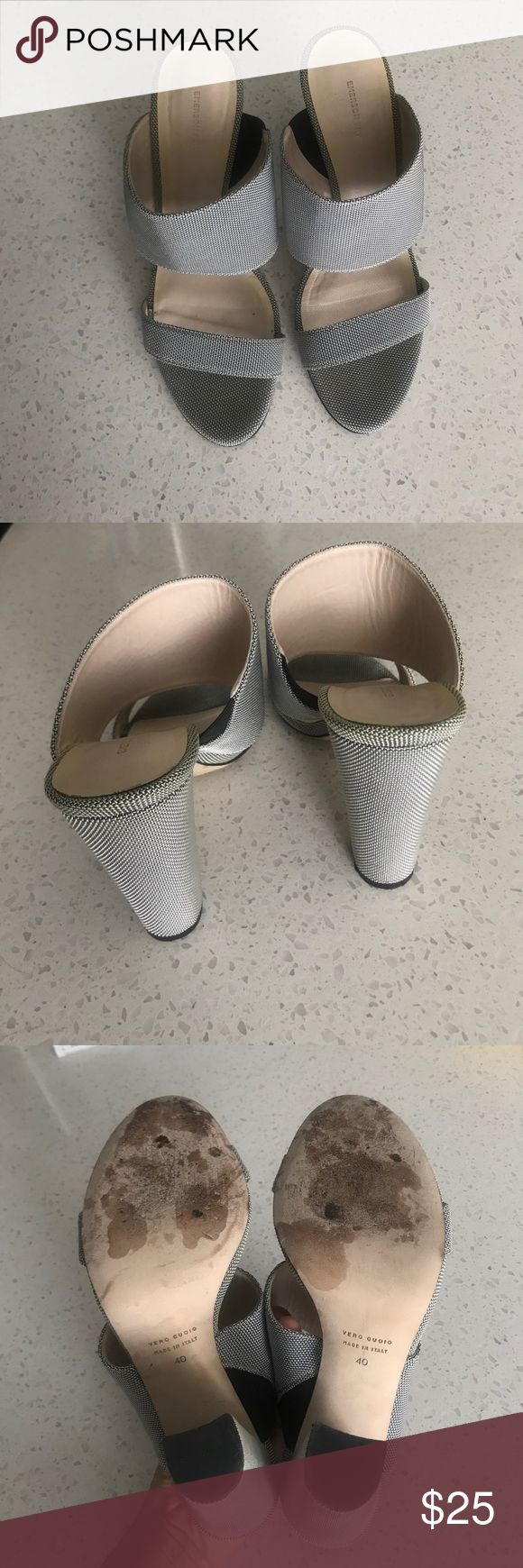 "Emerson Fry heels, as 40/9/9.5 Beautiful gray nylon heels. Worn a few times and are in great condition. The combination of the larger front strap and smaller toe strap hold your foot in nicely, without sliding out. 4"", please let me know if you have any questions! Emerson Fry Shoes Heels"