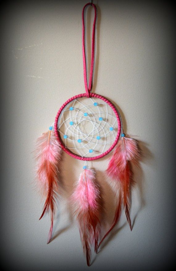 3'' Pink Dream Catcher with blue glass beads. Car Mirror. Home Decor. Gift Idea