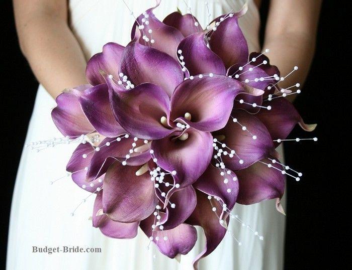 wedding bouquet calla lilies purple | Purple Calla Lily Wedding Flowers