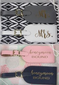These 100% leather luggage tags would make an adorable gift for the Bride & Groom! Luggage Tags come packaged in a gift box, as pictured.