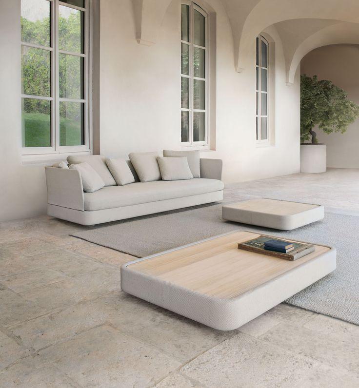 elegant stone contemporary garden sofa and coffee tables - Cove 2012 - Paola Lenti