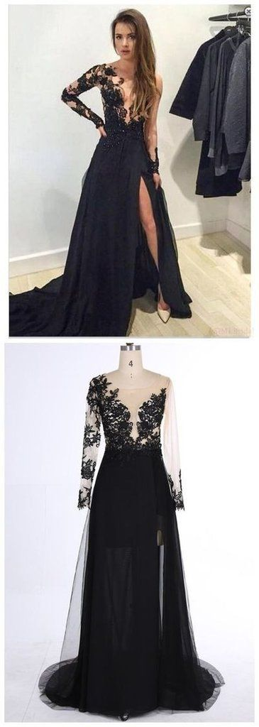 New Style Black Long Sleeves Prom Dresses Lace Deep V Neck Thigh-High Slit Sexy Lace Evening Gowns