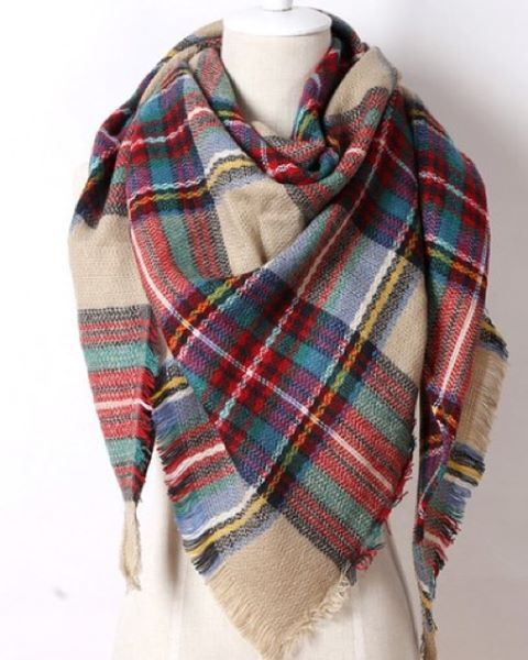 $24 Plaid Triangle Scarf - Camel.  Check out our post at www.facebook.com/royalravenboutique #freeshippinginlower48states #boutique #scarf #royalravenboutique #coolnights #womensfashion #womensaccessories #trendy #winter #instashop #plaid #trianglescarf #camel #fallfashion #falltrends