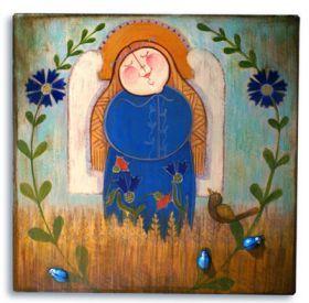 Rękodzieło :: Obrazki ręcznie malowane :: Anioły aniołowe :: Franciszka w szczerym polu Anioł malowany na drewnie
