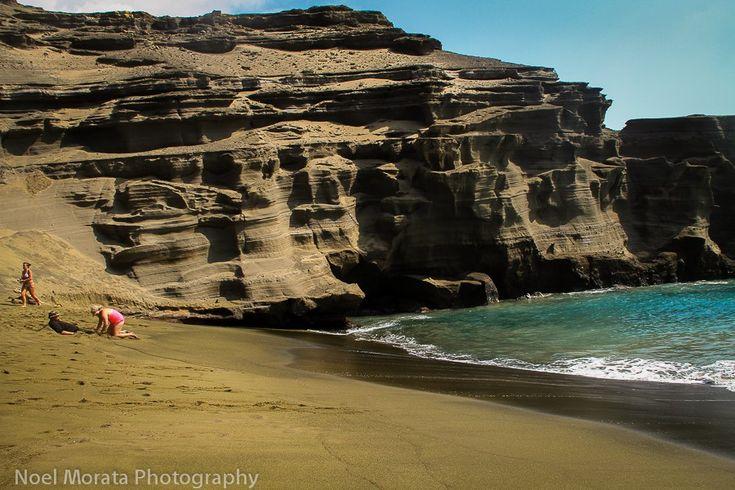 A rare green sand beach in Hawaii called Papakolea