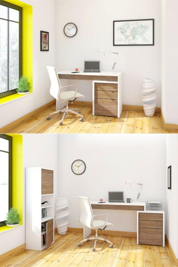table bureau modulable avec espace de rangement blanc et bois