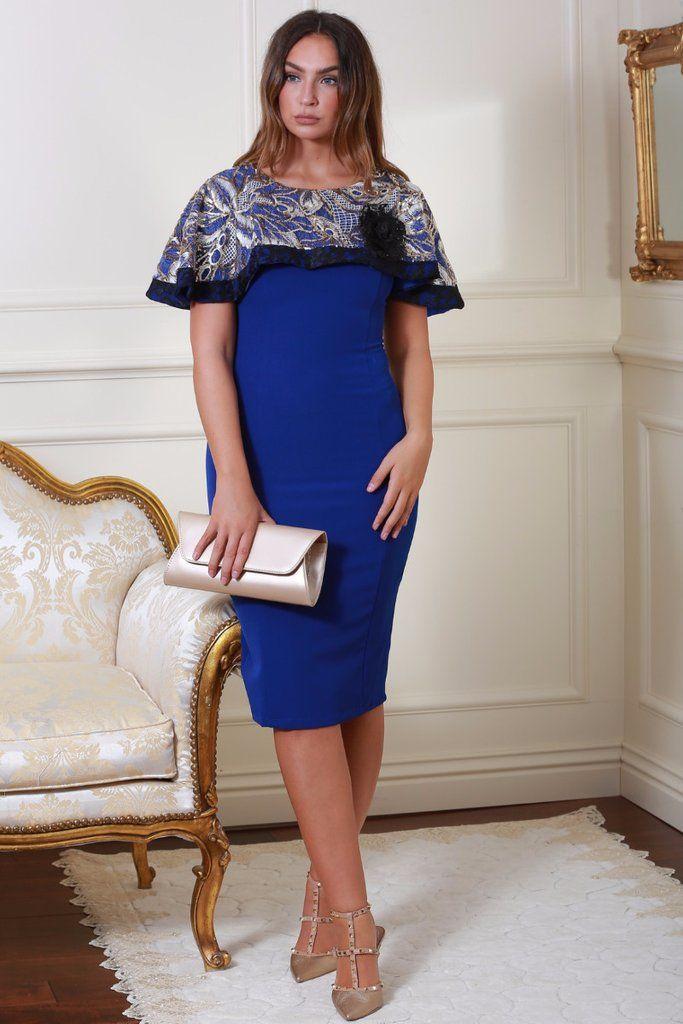 Delia Blue Sequin Cape Dress with Lace Detail