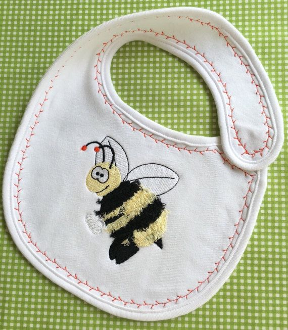 Bumble bee embroidered bib baby embroidered by Pobblebonksdesigns