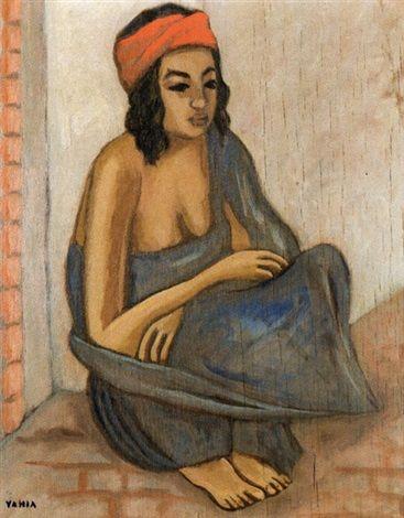 Femme au turban rouge by Yahia Turki - Artist: Yahia Turki (Tunisian, 1902–1969) Title: Femme au turban rouge Medium: oil on panel Size: 40 x 31.5 cm. (15.7 x 12.4 in.)