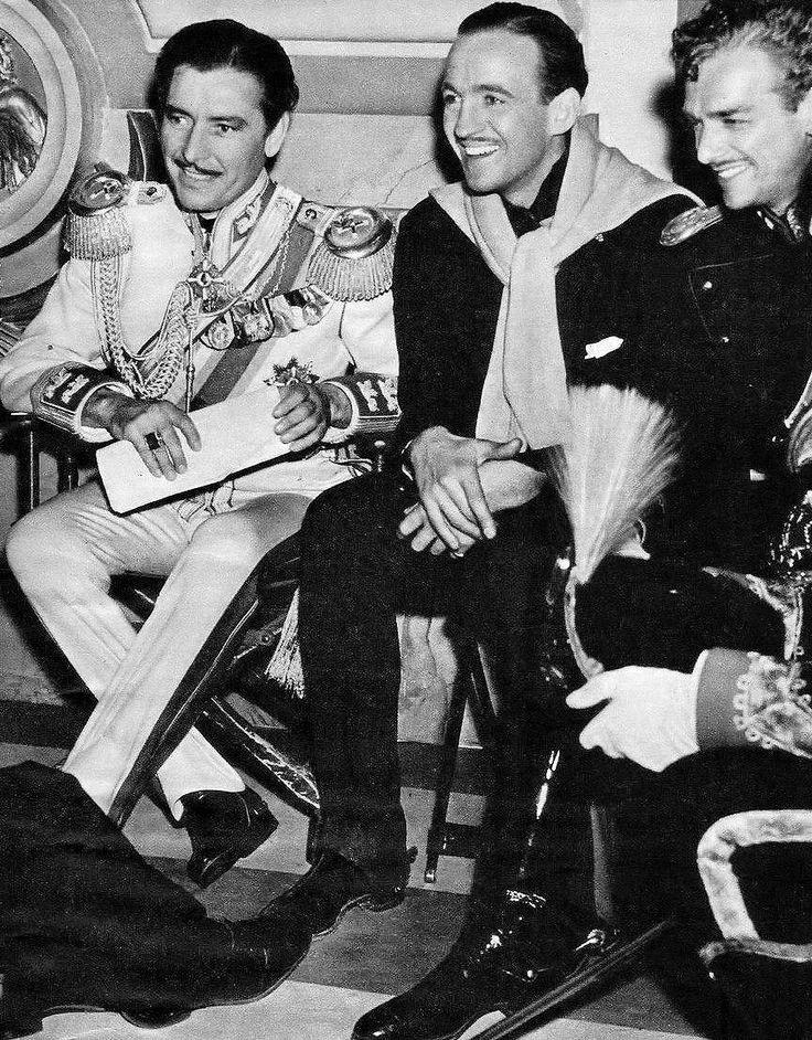 Ronald Colman, David Niven and Douglas Fairbanks Jr. on the set of The Prisoner of Zenda (1937)