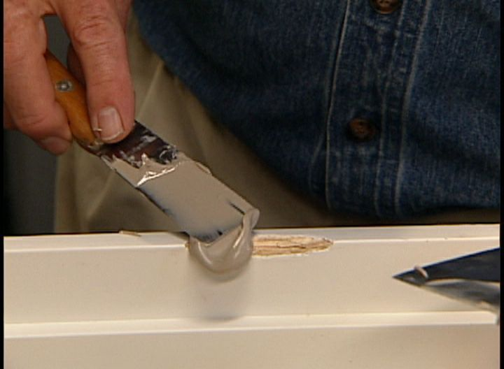 How to Repair a Gouge Nick or Dent in a Door or Frame View this quick video tip demonstrating how to fix a gouge or dent in a door easily. : doors repairs - Pezcame.Com