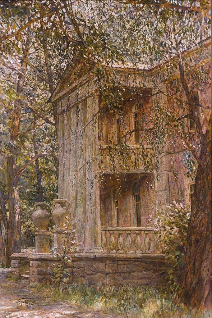 """1930 """"Look at a villa in the park"""" (Oil) - Isaak Brodsky Izrailevic.1883 - 1939"""