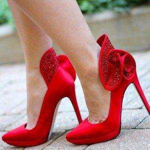 Women's Red Bridal Heels Rhinestone Pointy Toe Stiletto Heels Pumps