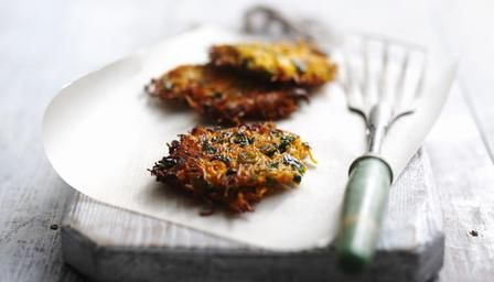 Carrot and coriander fritters - will try creme fraiche or yoghurt instead of the cream!