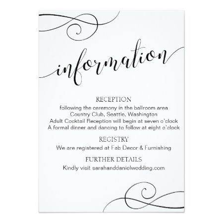 Swirl Typography Wedding Information Card Script - tap, personalize, buy right now!