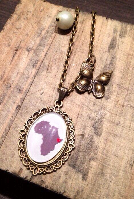 bronskleurige gepersonaliseerde ketting met land naar keuze bedel naar keuze / necklace with country of choice