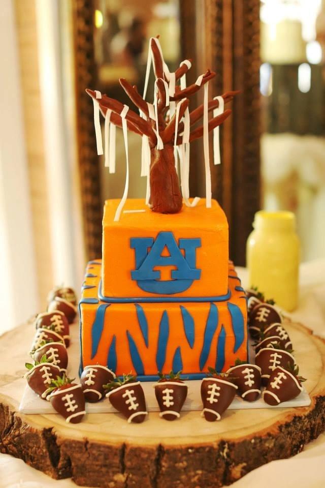 Indulge Sweet Shoppe www.indulgesweetshoppe.com Clanton, Al  Auburn Groom's cake with football strawberries