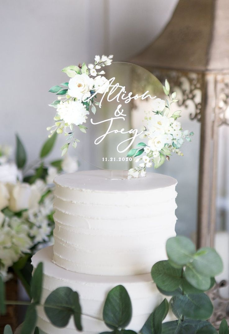 Wedding Cake Topper Clear Acrylic Floral Personalized Cake Etsy In 2020 Personalized Wedding Cake Toppers Wedding Cake Toppers Romantic Wedding Cake
