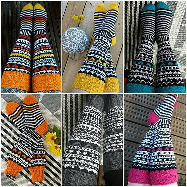 This is a popular sock design among the Finnish knitting community. Detailed instructions available in Finnish but there are example pattern charts available which of course are universal. Jonsukat is more like a sock recipe than a detailed pattern. Each pair of Jonsukat is unique, but they do have some common characteristics