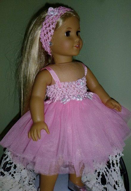 American Girl Doll Pink Tu Tu and Matching Headband by ArtsyTreats, $12.00