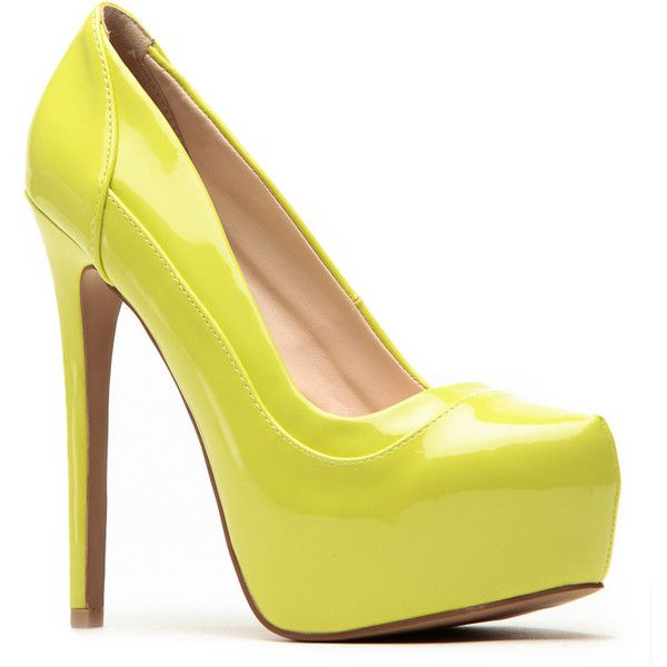 Qupid Qupid Patent Lime Layered Platform Heels ($33) ❤ liked on Polyvore featuring shoes, pumps, heels, lime green shoes, heels & pumps, almond toe pumps, qupid pumps and platform shoes