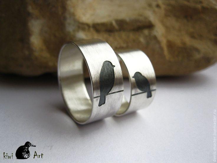 """Купить обручальное серебряное кольцо""""неразлучники"""" - широкое кольцо, кольцо из серебра, серебряное кольцо, украшения из серебра"""