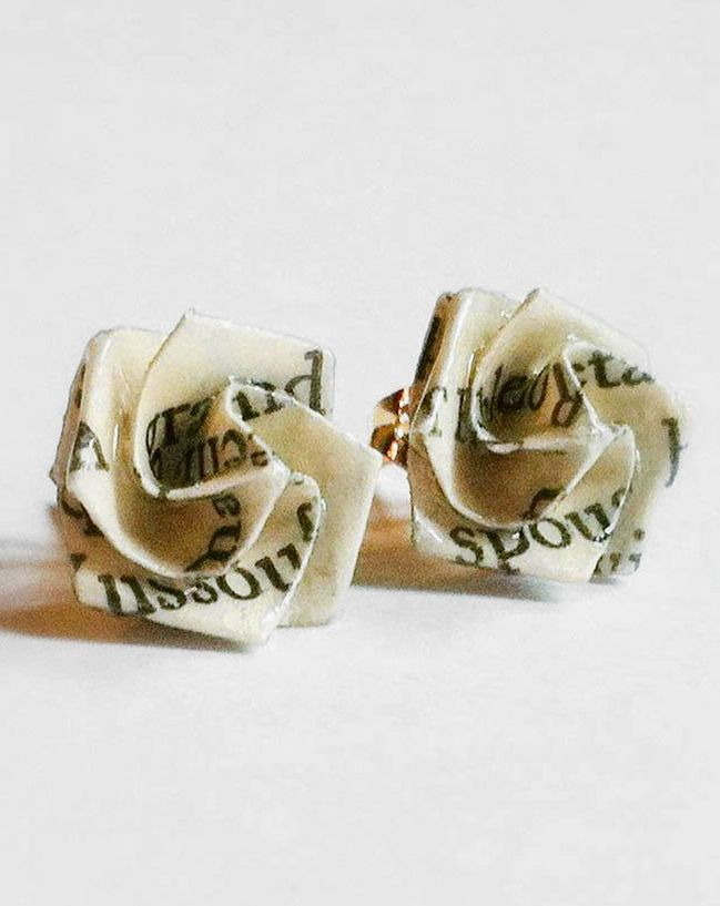 Literary Origami Rose Post Earrings - can't wear earrings yet but these r soo cool