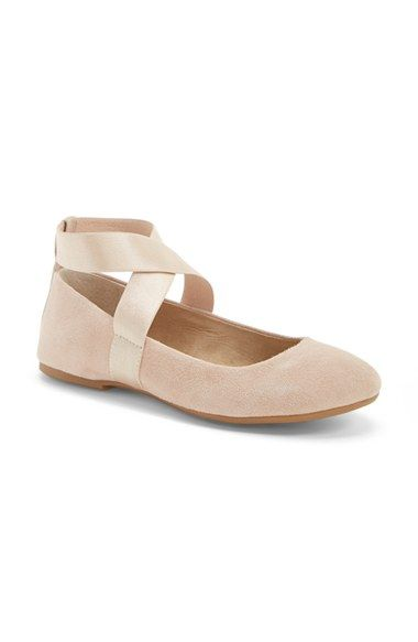 Free shipping and returns on Jessica Simpson 'Mariza' Ballet Flat (Women) at Nordstrom.com. For a style that's on pointe, a nubuck leather flat is topped with stretchy straps that mimic the ribbons of classic ballet footwear.