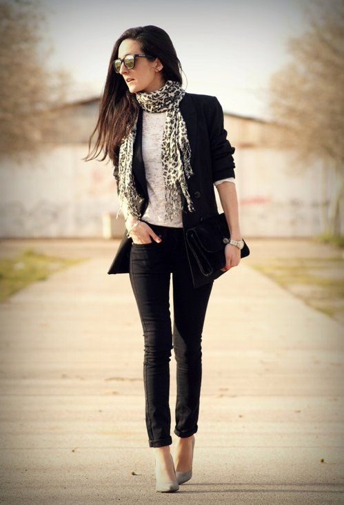 Get this look with CAbi spring '13 : Chic jacket with scoop neck tee and black piqué cropped pant add Leopard print scarf - so chic