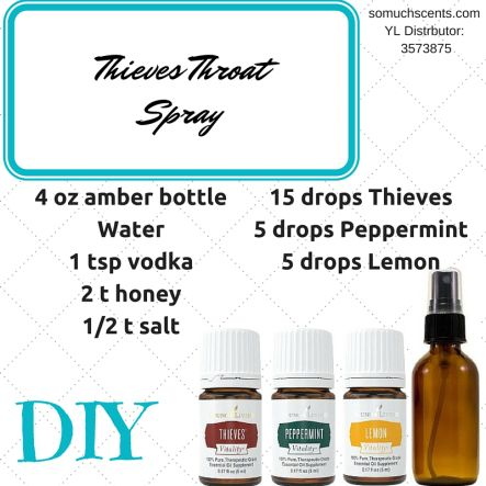 SORE THROAT SPRAY alt recipe: 1/2 oz. vodka 1/2 oz. water  10 dropsThieves oil 5 drops Lemon oil 3 drops Peppermint oil Once mixed, shake well and spray away. The throat feels better instantly.