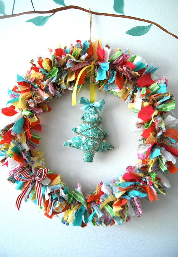Eclectic Christmas Wreath by BubbyMakesThree on Etsy, $59.00