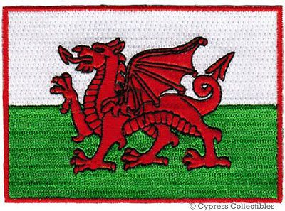 WALES FLAG embroidered iron-on PATCH WELSH EMBLEM new CYMRU UK UNITED KINGDOM