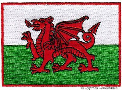 WALES FLAG embroidered iron-on PATCH WELSH EMBLEM new CYMRU UK UNITED KINGDOM