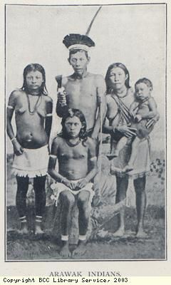 The Lucayan (Arawak) were the natives whom Christopher Columbus encountered in 1492 when he first arrived in the Americas. The Spanish described them as a peaceful, primitive people.