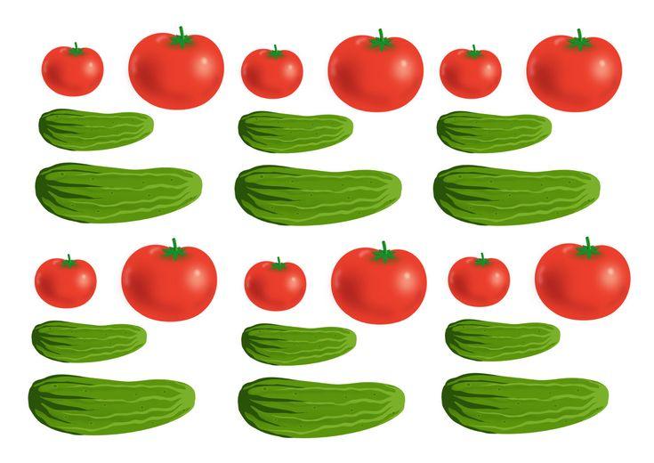 Огурцы и помидоры, рисунок